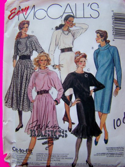 80's Vintage Sewing Pattern Knit Dress Round or Cowl Collar Flounce & Full Skirt 3924