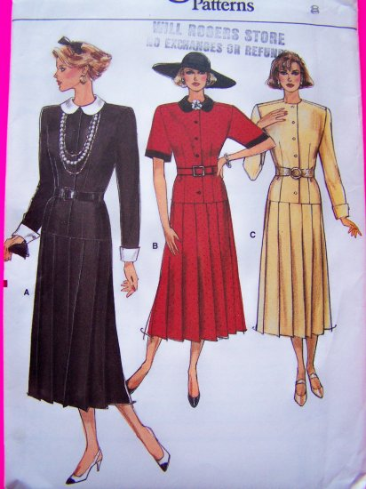 80's Vintage Vogue Sewing Pattern Dress Jewel Neck Dropped Waist Pleated Skirt Sz 8 # 9680