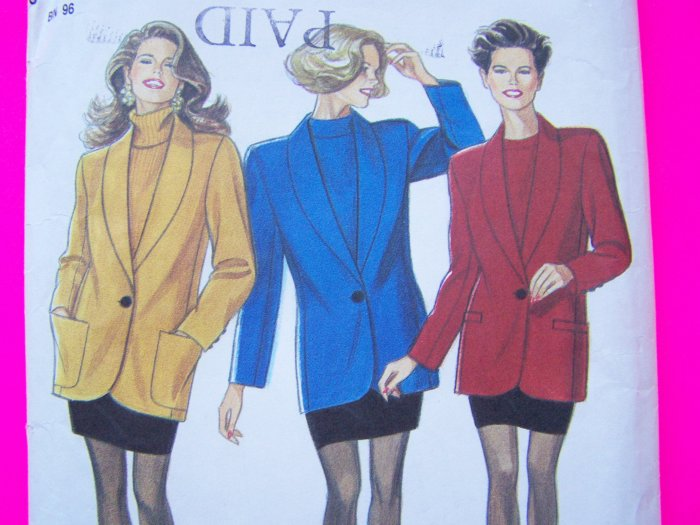 80's Mini Skirt Lined Blazer Suit Jacket Misses 8 10 12 14 16 18 Sewing Pattern New Look 6978