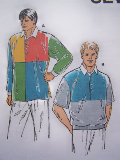 Men's Shirt S M L XL XXL Color Blocked Polo Style Sewing Pattern Kwik Sew 2235