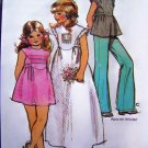 70's Girls Vintage Sewing Pattern Hippie Tie Back Mini - Long Dress Shirt Puff Sleeve Top Boho 5534