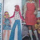 70's Girls Vintage Sewing Pattern Pullover Dress Jumper Hippie Shirt Sundress 4955
