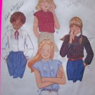 1970's Girls Vintage Sewing Pattern Blouse Sz 7 Pullover Shirt Cap Long Sleeves 6711