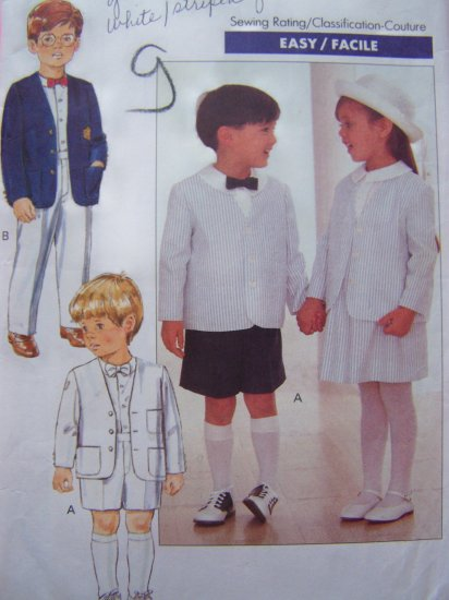 Toddlers 1 2 3 T Boys Girls Vintage Sewing Pattern Suit Jacket Shirt Skirt Shorts Pants 4580