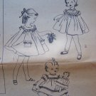 50's Vintage Girls Sz 3 Dress Sewing Pattern Doll Clothes 1950's Simplicity 1402