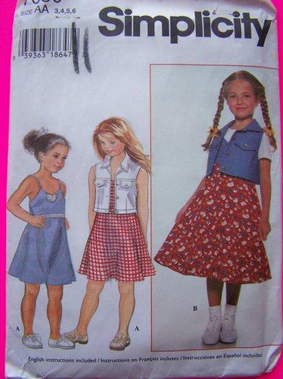 Toddler Girls 3 4T Sundress Flared Skirt Dress & Vest Jacket Simplicity Sewing Pattern 7050