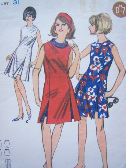 60's Mod Vintage Sewing Pattern A Line OverDress Seam Slit Beach Dress & Shorts Romper 3604