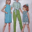 60's Vintage Sewing Pattern Girls Smock Dress Sleeveless Shirt Slim Pants Shorts 7265