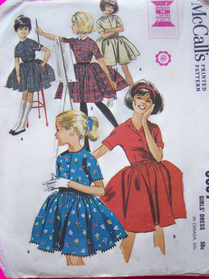 60's Girls Vintage Sewing Pattern Full Skirt Party Dress Sz 10 Easter Dresses McCall's 6657