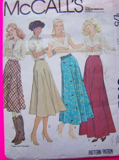 Vintage Sewing Pattern Flared Gored Skirts in four lengths Sz 12 Skirt Gore Flare McCall's 6732