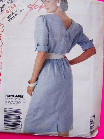 Vintage Sewing Pattern Dress Straight Pleated Vent Skirt Sz 6 8 10 Back V Self Belt 4153