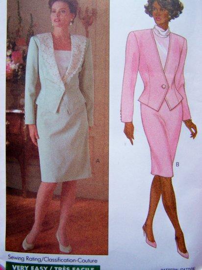 80's Vintage Sewing Pattern Unlined Jacket Slim Skirt Suit Sz 12 14 16 Butterick 4468
