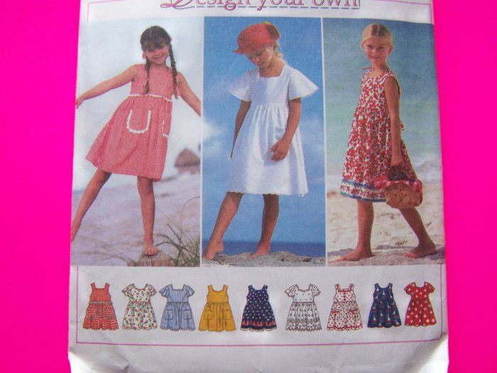 Toddler Girls Summer Dress Sz 2 3 T Empire Waist Pullover Sundress Sewing Pattern 9562