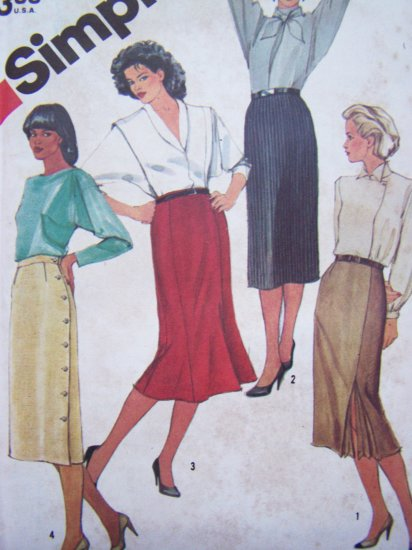 Vintage Sewing Pattern Skirts Slim Straight Trumpet Double Kick Pleat Skirt Sz 14 Simplicity 6234