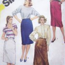80's Vintage Sewing Pattern Slim Skirts 2 Lengths Fuss Free Fit Skirt Back Vent Simplicity 6250
