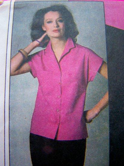 Vintage Sewing Pattern Misses Shirt Cap Sleeve BUtton Up Blouse Sz 8 10 Pocket Collar 9024