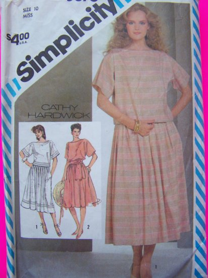 1980's Vintage Sewing Pattern Dress 2 Piece Bias Sash Pleated SKirt Boat Neck Shirt 5876