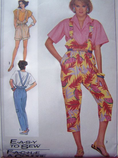 Vintage Sewing Pattern Misses 6 8 10 Suspender Pants Shorts Capris 80's Simplicity 7388