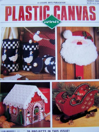 Plastic Canvas Corner Pattern Magazine 1990 Premier Issue 1 Christmas Ornaments Gingerbread House