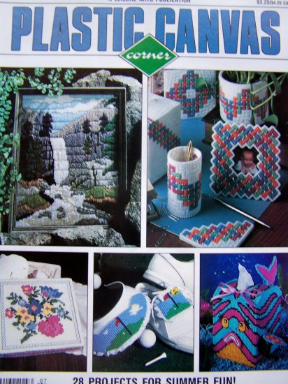 Plastic Canvas Corner Back Issue Magazine July 1991 Tropical Fish Tissue Sleigh Basket Desk Sets