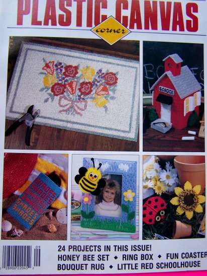 Plastic Canvas Pattern Flower Rug Santa Coasters Jewelry Box Bees 50s Poodles, Holiday Magnets 9/93