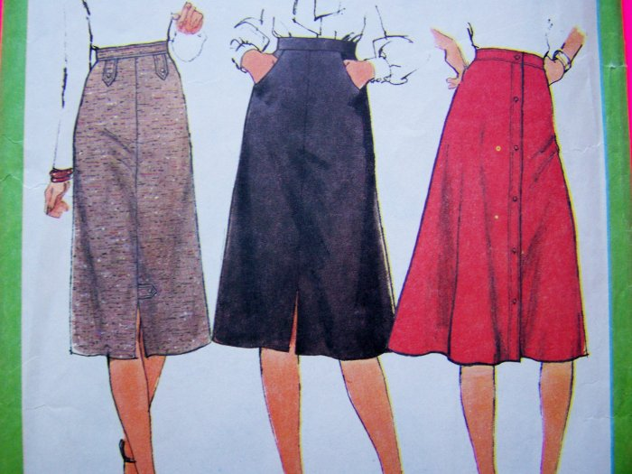 1970's Vintage Sewing Pattern Set of Skirts Front Slit Button Up Pockets Waistband Top Stitched 8241