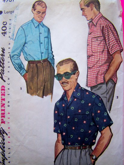 50's Mens Vintage Sewing Pattern Casual Sport Shirt Sz L Short or Long Sleeve Large Rat Pack 4981