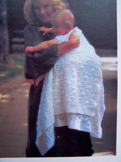 Vintage Baby Christening Shawl Blanket Vintage Knitting Pattern