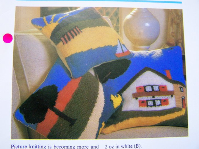 Vintage Knitting Pattern Picture Pillows Home Decor Landscape Scenes