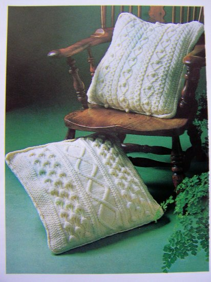 USA 1 Cent S&H Aran Pillows Vintage Knitting Pattern Home Decorating Instructions DIY Crafts