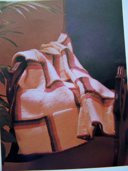 1 Penny S&H USA 80's Vintage Knitting Pattern Afghan Blanket Home Knit