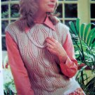 Leaf Pattern Slipover Sweater Vest Vintage Knitting Pattern Misses Bust 30 32 34 36