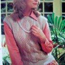 Leaf Pattern Slipover Sweater Vest Vintage Knitting Pattern Misses Bust 30 32 34 36