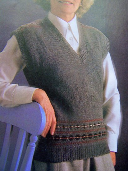 USA 1 Cent S&H Sweater Vest with Fair Isle Border Vintage Knitting Pattern Bust 34 36 38