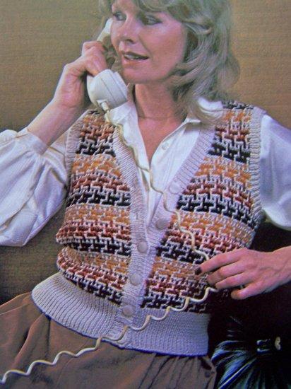 USA 1 Cent S&H Multi Colored Vest Button Sweater Vintage Knitting Pattern Weaving Stitch