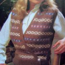 USA 1 Cent S&H 80's Fair Isle Vest Surplice Button Wrap Sweater Vintage Knitting Pattern