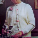 USA 1 cent S&H Rose Motif Twin Set Sweaters Cardigan Vintage Knitting Pattern Bust 31 - 40