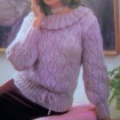 USA 1 Cent S&H 1980's Lacy Sweater Ruffle Neck Vintage Knitting Pattern Bust 32 34 36 38