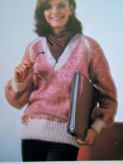 USA 1 Cent S&H V Neck Pullover Sweater Contrasting Borders Vintage Knitting Pattern Bust 32 34 36 38