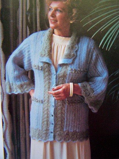 Lacy Jacket Sweater Vintage Knitting Pattern Bust 31 33 35  37  39  41 Lace & Bobble Stitch