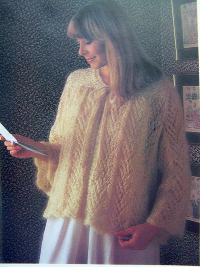 USA 1 Cent Shipping Lacy Bed Jacket Vintage Knitting Pattern Bust 34 36