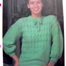 USA 1 Cent S&H Embossed Leaf Sweater Vintage Knitting Pattern Bust  32 34 36 38