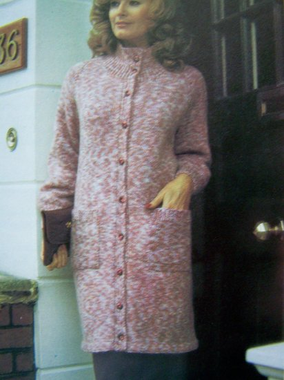 US 1 Cent S&H High Necked Raglan Sweater Coat Vintage Knitting Pattern Plus Size Button Up