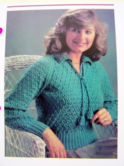 Honeycomb Sweater Plus Size Vintage Knitting Pattern V Neck Collar Tassel Tie bust 38 40 42 44