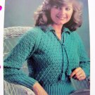 Honeycomb Sweater Plus Size Vintage Knitting Pattern V Neck Collar Tassel Tie bust 38 40 42 44