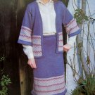 USA 1 Cent S&H Two Piece Suit Vintage Knitting Pattern Sweater Jacket Skirt Plus Size