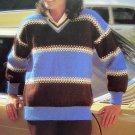 80's Vintage Bold Striped V Neck Bulky Sweater Womens Plus Size Knitting Pattern Bust 38 40 42 44