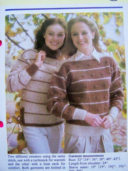 USA 1 Cent S&H 80's Stripes Bobbles Sweaters Turtleneck Boat Neck Vintage Knitting Pattern
