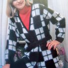 USA 1 Cent S&H Bold Checked Wrap Deep V Bulky Sweater Belted Vintage 80's Knitting Pattern Bust 34