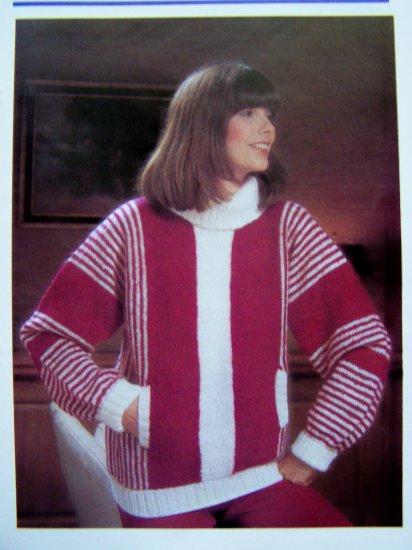 Vertical Striped Turtle Neck Bulky Sweater Slash Pockets Vintage Knitting Pattern Bust 34 36